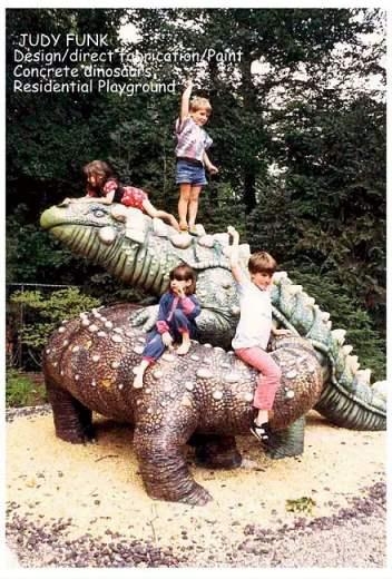 Concrete dinosaurs playground